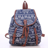 Blue Elephant Travel Bag Canvas Lightweight Backpack
