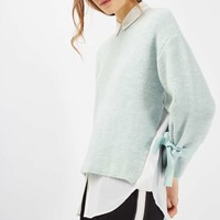 PETITE Tie Sleeve Mohair Knit