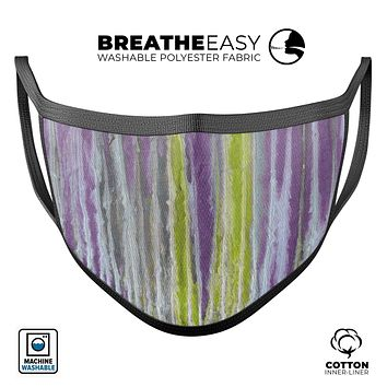 Abstract Wet Paint Purple Sag - Made in USA Mouth Cover Unisex Anti-Dust Cotton Blend Reusable & Washable Face Mask with Adjustable Sizing for Adult or Child