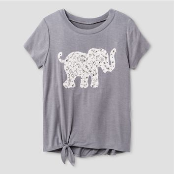 Girls' Miss Chievous Short Sleeve Top with Twist Front & Elephant Applique - Gray