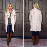 Tessa Cable Knit Sweater Cardigan - TAUPE