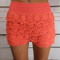 Floral Lace Shorts: Sherbert