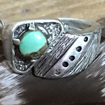 Sterling Silver & Turquoise Men's Ring