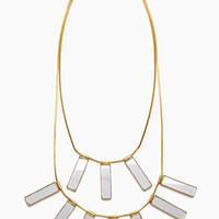 Davina Mirrored Charm Brass Layered Necklace - Gold