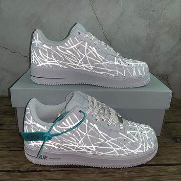 Morechoice Tuhz Nike Air Force 1 Low Sneakers Reflective Casual Skaet Shoes N-0299
