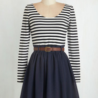 Long Sleeve Fit & Flare Department Director Dress