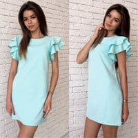 Women Summer Style Butterfly Sleeve Dress Casual Sexy Halter Mini Party Dresses Vestidos
