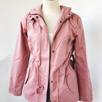 COLLETTE HOODED PARKA JACKET- MAUVE
