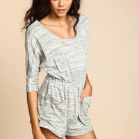HEATHER GREY KNIT GATHERED ROMPER