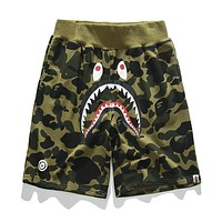 BAPE AAPE Summer Fashionable Camouflage Print Sports Running Shorts Green