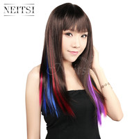 "Ombre Synthetic Clip In On Hair Extension 18"" 20"" 10pcs lot Multi/Single Color Gradient Straight Highlight Braiding Hair Pieces"