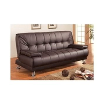 Sofa Sleeper Couch Bed Tufted Futon Removable Arm Rests Brown Vinyl Furniture