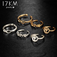 17KM Infinity Peace Love Toe Ring Sets for Women Fashion Retro Hollow Adjustable Rings Anillos Beach Foot Jewelry Lady Gifts