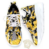 Onewel Versace Palace print black gold platform shoes old shoes