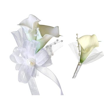 Wrist Corsage and Boutonniere Set - White Real Touch Calla Lilies decorated with Tulle and Pearls
