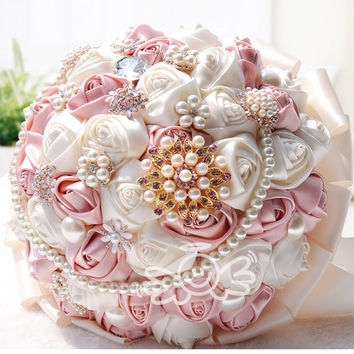 Romantic Customized Wedding Bouquet Pearls Beaded Brooch Bouquet Colorful Artificial Silk Roses Wedding Flowers Bridal Bouquets Alternative Measures