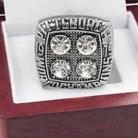 Drop shipping zinc alloy planting silver 1979 Steelers championship ring for Pittsburgh fans custom football ring