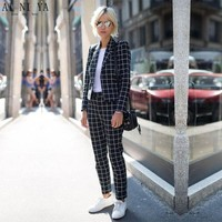 Women Pant Suits Black And White Plaid Women Groom Tuxedos Shawl Lapel Suits For Women One Button Business Women Work Suits