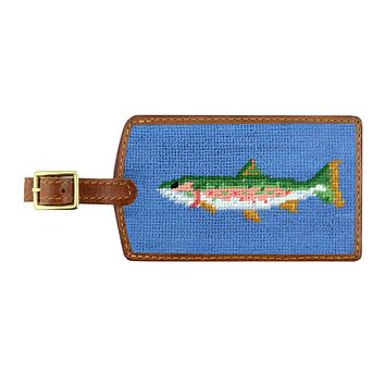 Trout Needlepoint Luggage Tag by Smathers & Branson
