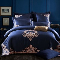 Cool Luxury Bedding Sets Embroidery long stapled cotton 4pcs Queen/King Size Duvet Cover Set Bedclothes Bed Linen bed sheetAT_93_12