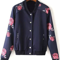 Dark Blue Floral Print Single-Breasted Pocket Jacket
