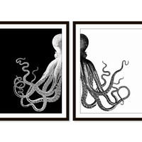 Octopus Art Print Beach Nautical Print Beach House Sea Ocean Print Set of Two - 5x7, 8X10, 11x14 Black and White Home Decor Wall Decor