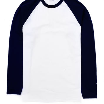 The Idle Man Long Sleeve Raglan- White Navy