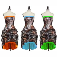 strapless short front long back high low camo bridesmaid dresses 2017camouflage  wedding party dress custom make free shipping