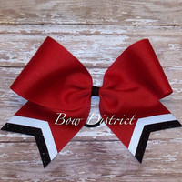 """3"""" Red Team Cheer Bow with Black and White Tail Stripes"""