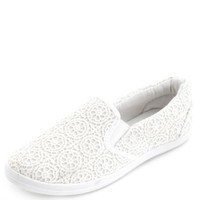 Crocheted Lace Slip-On Flats