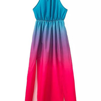 Blue and Red Gradient Halter Maxi Dress
