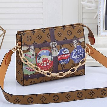 LV Louis Vuitton Colorblock Printed Chain Cosmetic Bag Shopping Shoulder Bag Messenger Bag Brown