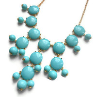 ready to ship Teal Bubble j crew inspired bib statement necklace couture wedding christmas