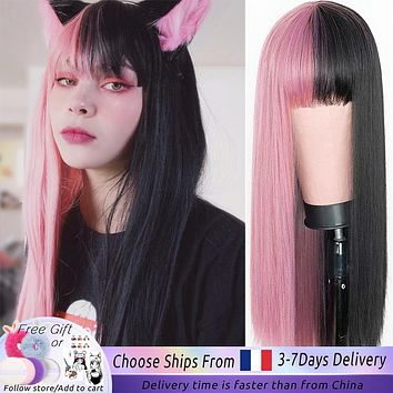 Wig Pink and Black Long Straight hair Cosplay  Two Tone Ombre Color Women Synthetic Hair Wigs