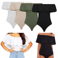 Lanshifei Summer Off Shoulder Backless Rompers Sexy Ruffles Women Bodysuit Crop Tops Blusa Womens Jumpsuit Bodycon Shirt Overall