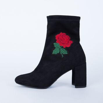 Rose Patched Boots