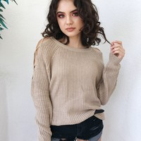 MARA LACE UP SIDE SWEATER- BEIGE