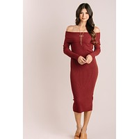 Irene Off the Shoulder Ribbed Knit Midi Dress