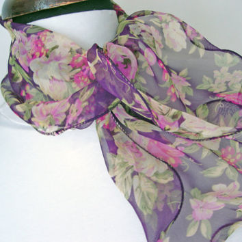 Floral scarf, Litle scarves, Bracelet scarf, Viscose shawl, Flowers accessories, Purple scarf, Printing scarf, Cristmas gift, Birthday gifts