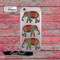 Elephants Henna Style Indian Cute Animal Clear Phone Case For iPhone 6, iPhone 6 Plus +, iPhone 6s, iPhone 6s Plus +, iPhone 5/5s, iPhone 5c