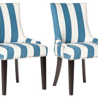 Blue Lester Dining Chairs, Pair, Side Chairs