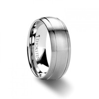 WYMOND Domed Brush Finished Tungsten Carbide Ring with Dual Grooves