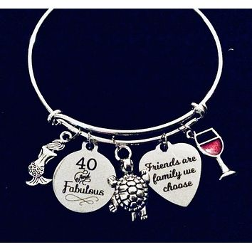 40th Birthday Gift For Her Expandable Charm Bracelet Friends are family we Choose Adjustable One Size Fits All