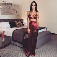 new Christmas red outfits high quality women stain casual deep v strap  tops and  loose ful length pants two pieces sets