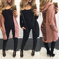 Sexy Back Hollow Hooded fall fashion Sweater