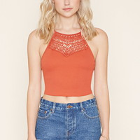 Cutout Crochet-Paneled Cami