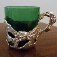 Vintage 1950s Five (5) Person Set of Silver Plated Chinese Dragon Coffee Tea Cups with Green Glass and Saucers / Retro Tea Set
