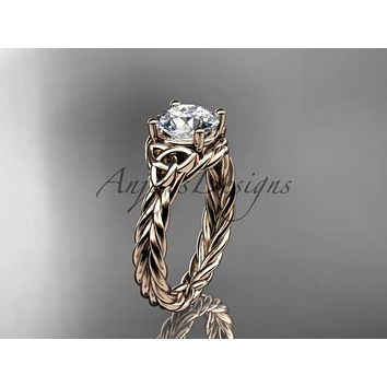 14kt rose gold rope triquetra celtic engagement ring RPCT9112
