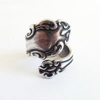 Steampunk Spoon Ring- Bypass Ring- Adjustable- Sterling Silver Finish