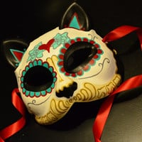 Heart my Kitty Day of the Dead Cat Mask - Dia De los Muertos -  Tattoo Flash - Red and Teal